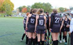 Girls varsity field hockey battles Marian High School, tying 0-0