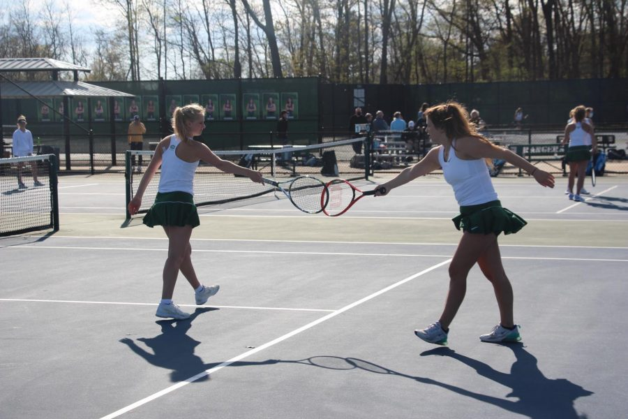 A clean sweep in doubles secures a 6-2 win for girls varsity tennis over Northview