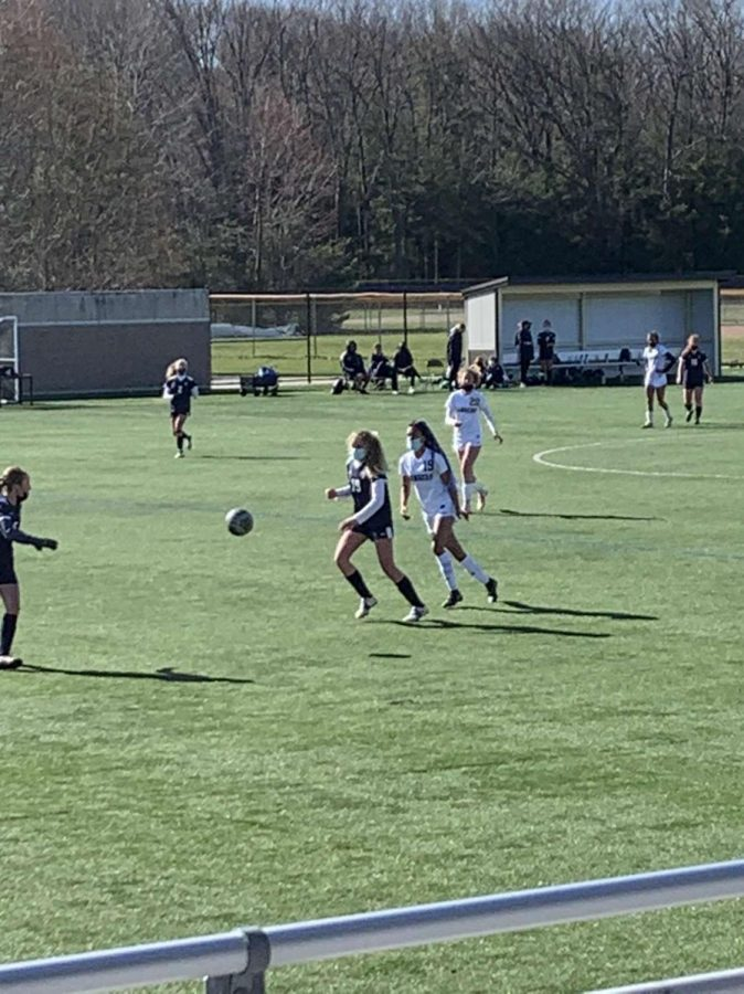 Sophomore Mackenzie Wintrich leads the girls JV soccer team to a 5-1 victory over Lowell