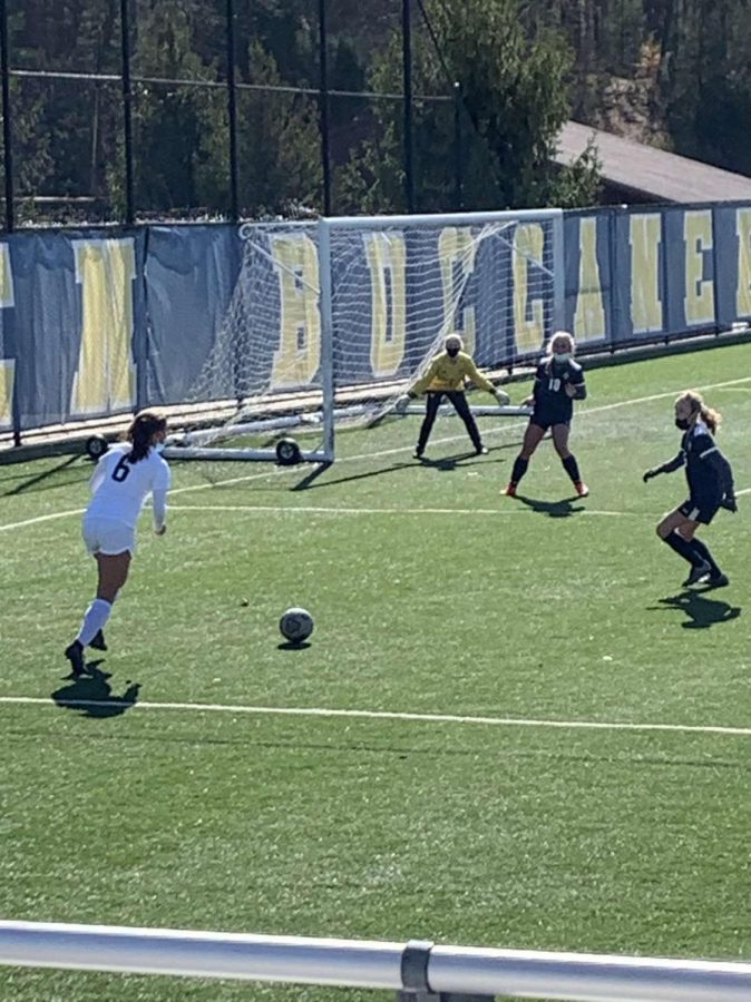 An 18-yard bomb from Zenash Cumings cements a 2-0 victory for girls JV soccer over Grand Haven