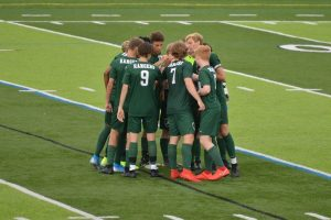Boys varsity soccer feeds off of Tyler Poths first goal of the season with a 3-0 win over Cedar Springs in the District Quarterfinals